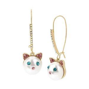 Betsey Johnson cat face drop earrings